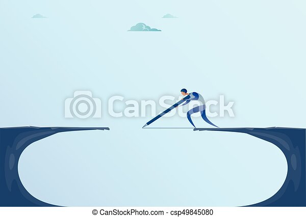brücke, gehen, begriff, risiko, geschaeftswelt, berg, aus, lücke, geschäftsmann, felsformation, zeichnung, mann - csp49845080
