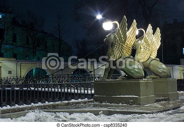 brücke, griffons, 2, russland, bank - csp8335240