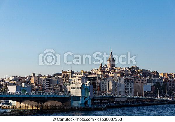 brücke, istanbul, galata, karakoy, quarter., turm, ansicht