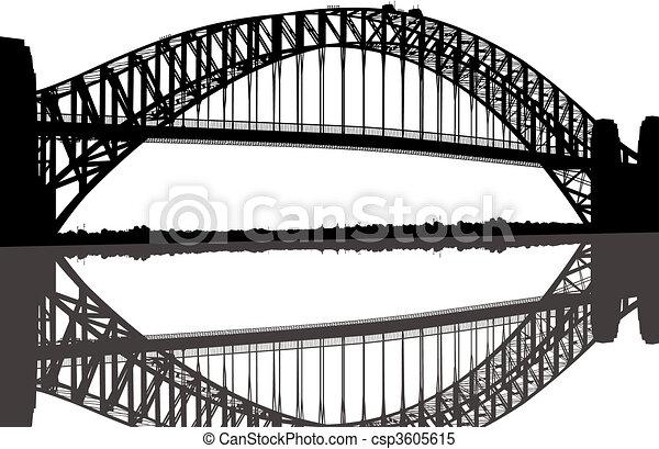 brücke, silhouette, sydney hafen - csp3605615