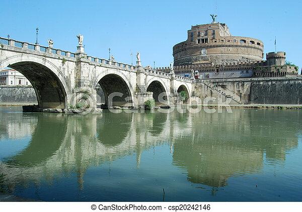 brücken, italien, tiber, aus, -, rom, fluß - csp20242146