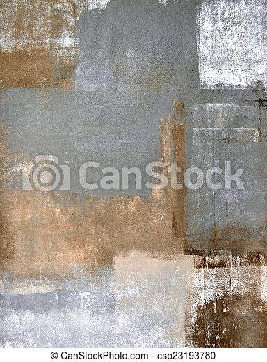 brązowy, abstrakcyjna sztuka, szary - csp23193780