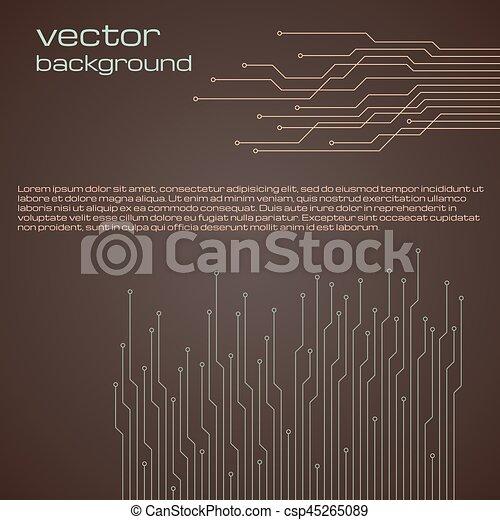 brązowy, elementy, abstrakcyjny, microchip., tło, techniczny - csp45265089