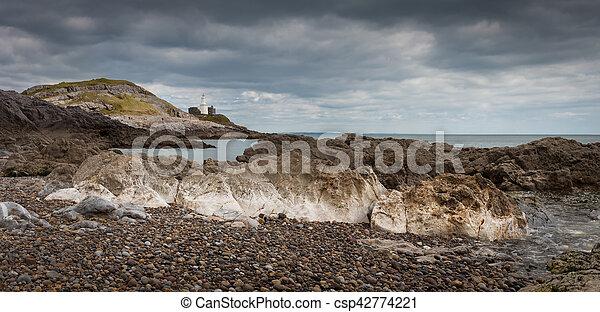 Bracelet Bay and Mumbles lighthouse - csp42774221