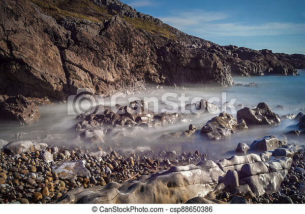 Bracelet Bay coastline travel destination at the Mumbles on the Gower Peninsular West Glamorgan Wales UK - csp88650386