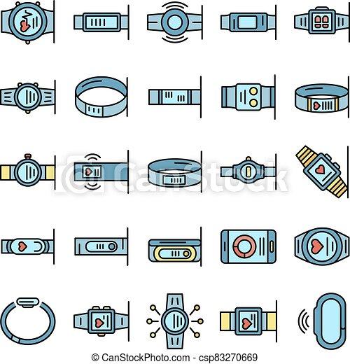 bracelet, plat, fitness, ensemble, icônes, vecteur - csp83270669
