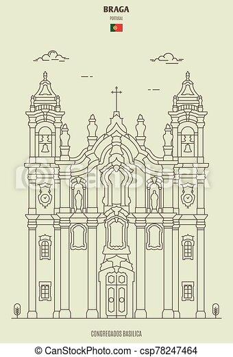 braga, congregados, ランドマーク, バシリカ, portugal., アイコン - csp78247464