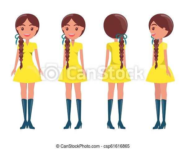 c4b6741aca22 Braided brunette girl in modern elegant look girls. Braided brunette ...