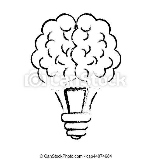Brain And Lightbulb Bright Idea Icon Image