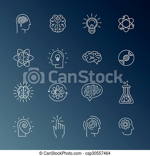 Brain and mind icons - csp30557464
