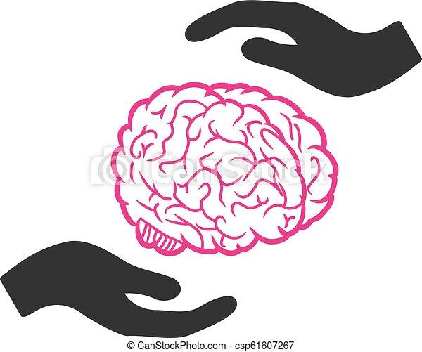 Brain Care Hands Vector Icon - csp61607267
