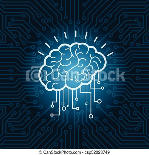 Brain digital form icon over blue circuit background vector... eps ...
