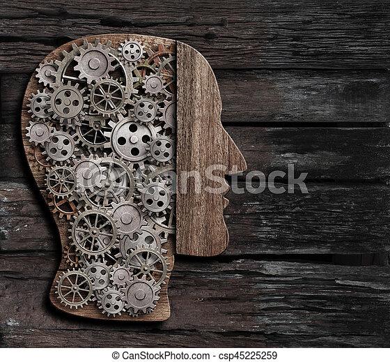 brain function, psychology, memory or mental activity concept 3d illustration - csp45225259