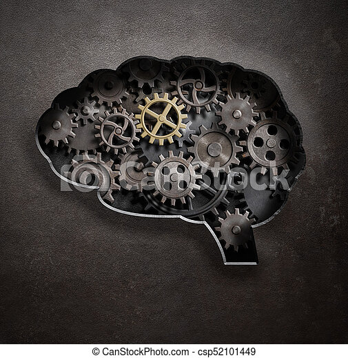 Brain gears and cogs concept 3d illustration - csp52101449