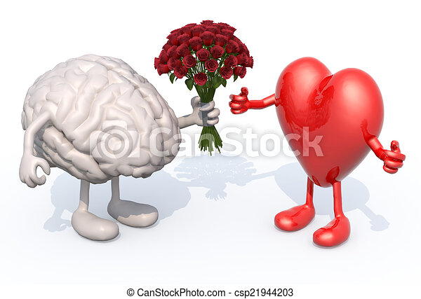 brain hands her a bouquet of roses to a heart - csp21944203
