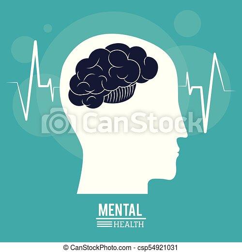 brain human profile head, mental health design - csp54921031