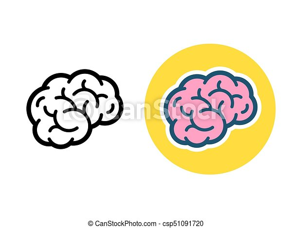 brain icon illustration stylized brain icon or logo black line and color simple flat cartoon style human brain vector https www canstockphoto com brain icon illustration 51091720 html