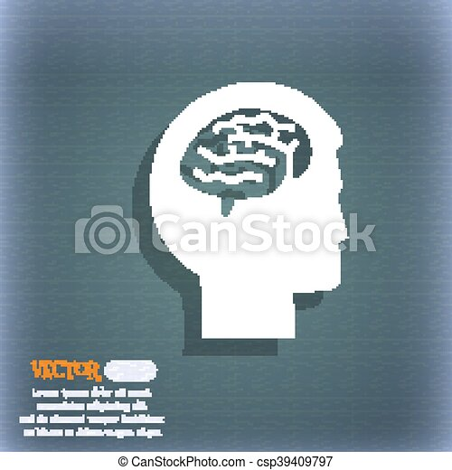 Brain icon. On the blue-green abstract background with shadow and space for your text. Vector - csp39409797