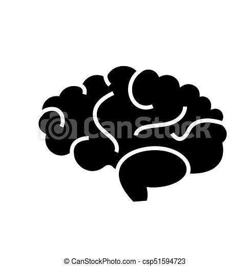 brain icon, vector illustration, black sign on isolated background - csp51594723