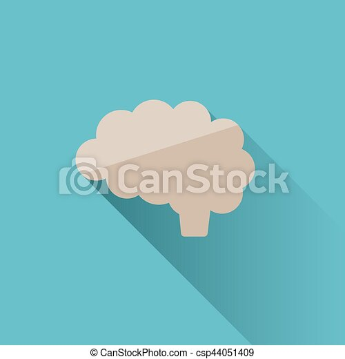 Brain icon with shade on blue background - csp44051409