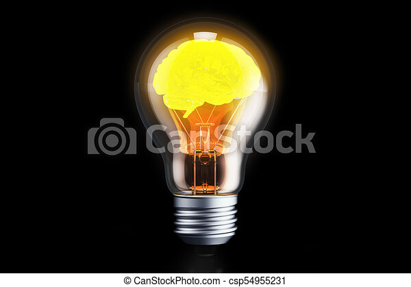 brain inside light bulb idea concept 3d rendering