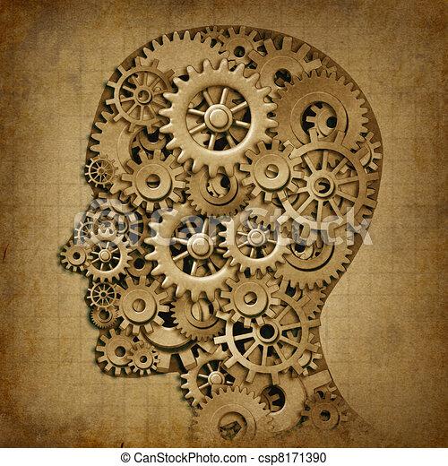 Brain intelligence grunge machine medical symbol - csp8171390