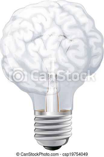 Brain Light Bulb   Csp19754049