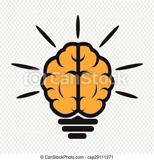 Brain Light Bulb Icon   Csp29111371