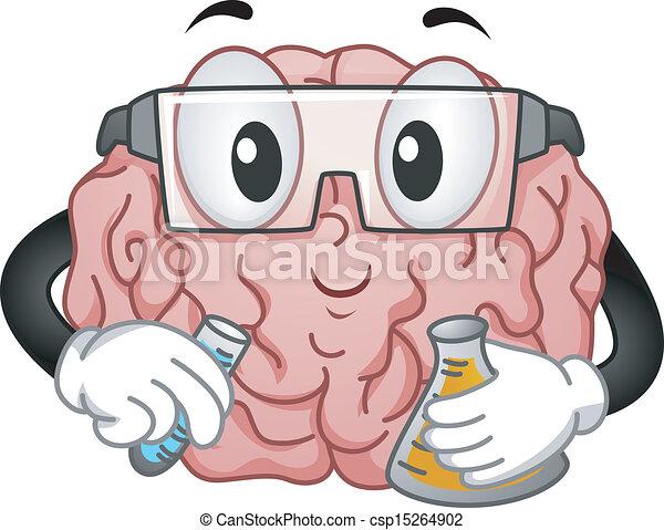 Brain Mascot doing Chemistry Experiment - csp15264902