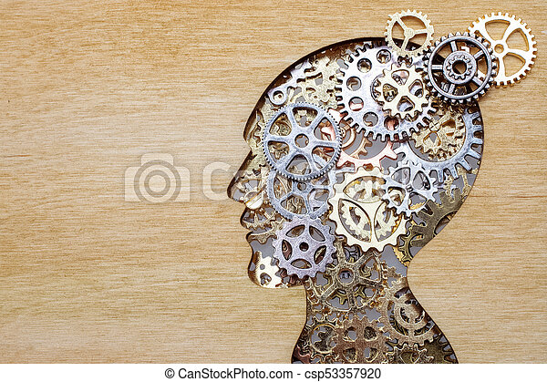 Brain model concept made from gears and cogwheels on wooden background - csp53357920