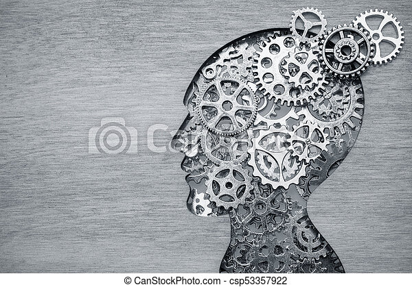 Brain model concept made from gears and cogwheels on wooden background - csp53357922