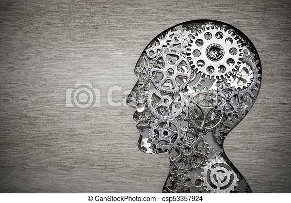 Brain model concept made from gears and cogwheels on wooden background - csp53357924