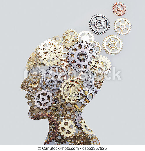 Brain model concept made from gears and cogwheels on grey background - csp53357925
