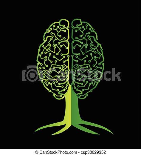 Brain tree symbol logo - csp38029352