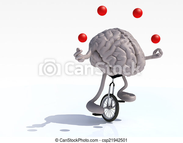 brain with arms and legs juggle rides a unicycle - csp21942501