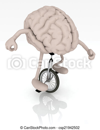 brain with arms and legs rides a unicycle - csp21942502