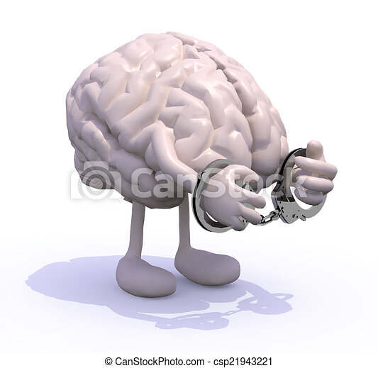 brain with arms, legs and handcuffs - csp21943221