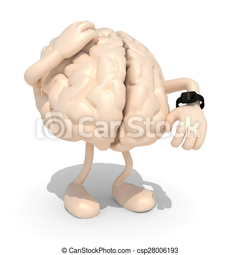 brain with arms, legs and watch - csp28006193