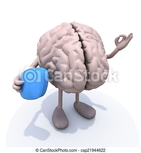 brain with big blue pill on hand - csp21944622
