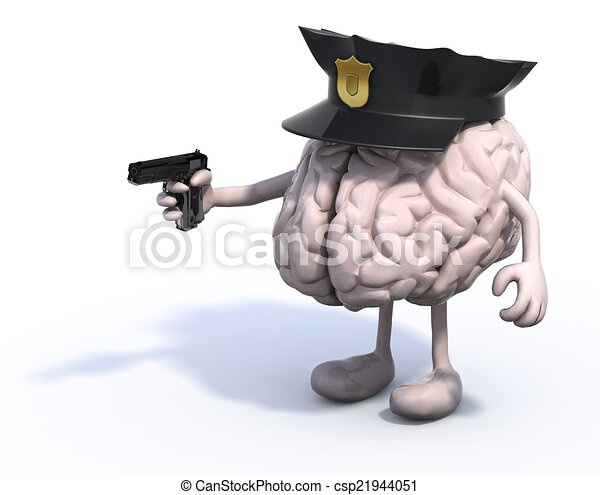 brain with police cop and gun on hand - csp21944051