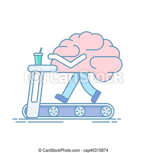 Brain Workout. The concept of brain activity. Training or sports activities on the treadmill . Vector illustration in a linear style isolated on white background. - csp40315874