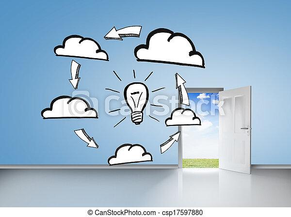 Brainstorm on blue wall with open door - csp17597880