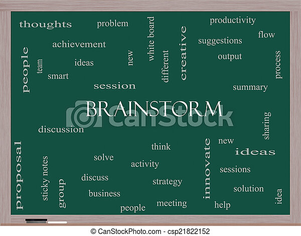 Brainstorm Word Cloud Concept on a Blackboard - csp21822152