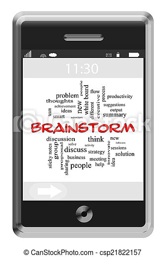 Brainstorm Word Cloud Concept on a Touchscreen Phone - csp21822157