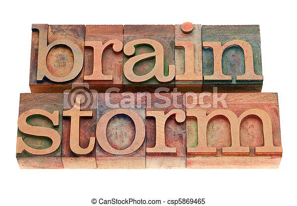 brainstorm word in letterpress type - csp5869465
