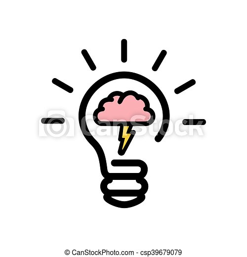 vector illustration of the brainstorming bulb icon rh canstockphoto com person brainstorming clipart brainstorming clipart images