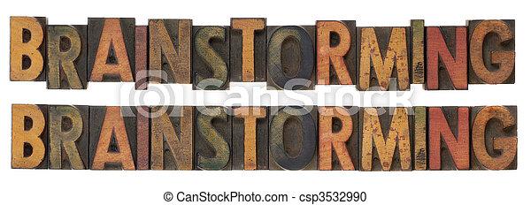 brainstorming - vintage wood letterpress type - csp3532990