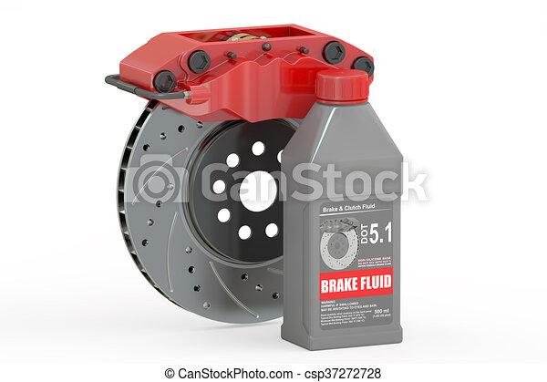 Brake Fluid with Disc Brake, 3D rendering - csp37272728