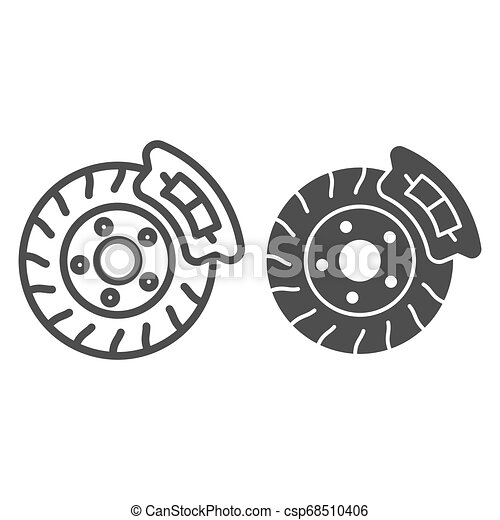 Brake shoe line and glyph icon. Disk brake vector illustration isolated on white. Auto disk brake outline style design, designed for web and app. Eps 10. - csp68510406