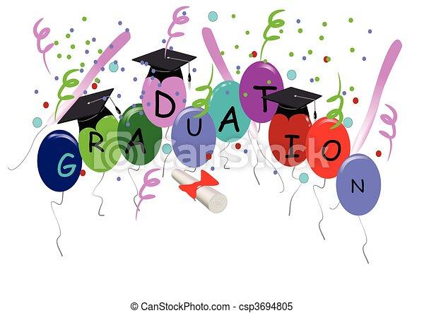 branca, balões, graduação - csp3694805